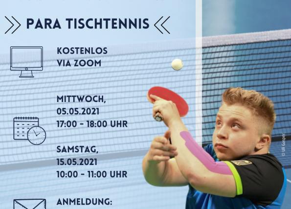 Virtueller Schnuppertag Para Tischtennis im Mai